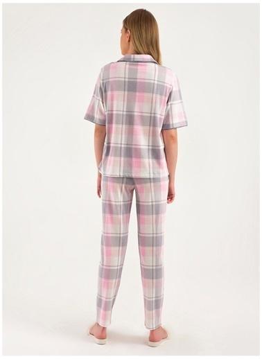 Magic Form Magic Form 18280 Gri Kareli Kadın Pijama Takımı Gri